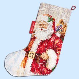 Santa Stocking - borduurpakket met telpatroon Luca-S |  | Artikelnummer: luca-PM1230