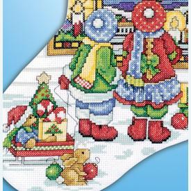 Stained Glass Window Stocking - borduurpakket met telpatroon Design Works | Kerstkous om zelf te maken | Artikelnummer: dw-5961