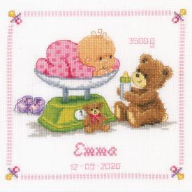 Baby and Bear - borduurpakket met telpatroon Vervaco |  | Artikelnummer: vvc-21871b