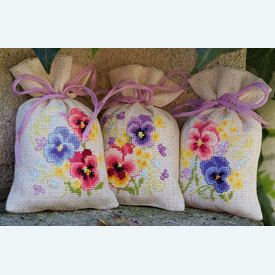 Assortiment kruidenzakjes - Violets - Handwerkpakketjes met telpatroon Vervaco |  | Artikelnummer: vvc-169374