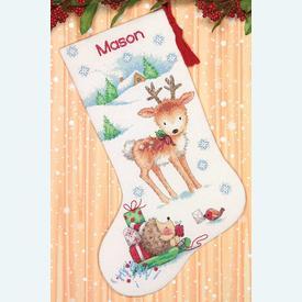 Reindeer & Hedgehog Stocking - borduurpakket met telpatroon Dimensions |  | Artikelnummer: dim-70-08978