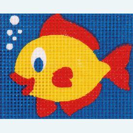 Fish - halve kruissteekpakket Vervaco | Handwerkpakket voor kinderen, te borduren op geschilderd stramien, in halve kruissteek  | Artikelnummer: vvc-9576