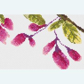 Bird in Flowerbuds 1 - borduurpakket met telpatroon Nafra |  | Artikelnummer: nf-nafra21017