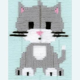 Grey Kitty - Vervaco borduurpakket in platsteek, voor kinderen |  | Artikelnummer: vvc-147443
