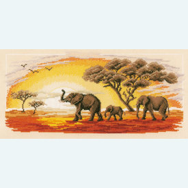 Elephants - borduurpakket met telpatroon Vervaco |  | Artikelnummer: vvc-2317