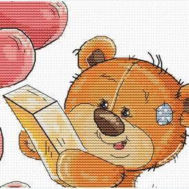 Teddy Bear with Hearts Box - borduurpakket met telpatroon Luca-S |  | Artikelnummer: luca-b1177