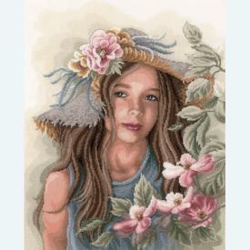 Little Girl with Hat - borduurpakket met telpatroon Lanarte      Artikelnummer: ln-169325