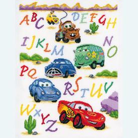 Cars ABC - Disney borduurpakket met telpatroon Vervaco |  | Artikelnummer: vvc-14877