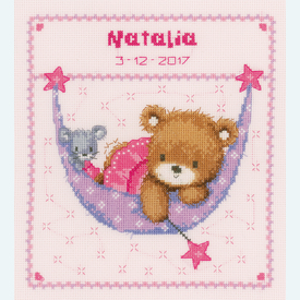 Little Bear in Hammock, pink - borduurpakket met telpatroon Vervaco |  | Artikelnummer: vvc-148471