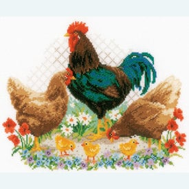 Rooster and Chickens - handwerkpakket met telpatroon Vervaco |  | Artikelnummer: vvc-170173