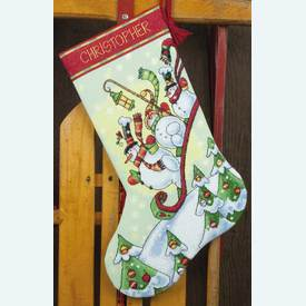 Sledding Snowmen Stocking - borduurpakket met telpatroon Dimensions |  | Artikelnummer: dim-70-08853