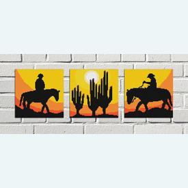 Cowboys and Cactusses mini - 3 borduurpakketten met telpatroon Nafra | Bundel van 3 telpakketten | Artikelnummer: nf-nafra21024-5-6-bun