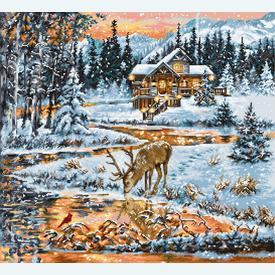 Snowy Cabin - borduurpakket met telpatroon Luca-S |  | Artikelnummer: luca-bu4022