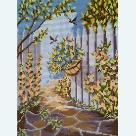 Hanging Basket - bundel van geschilderd stramien + borduurwol, te borduren in halve kruissteek |  | Artikelnummer: vvc-6021