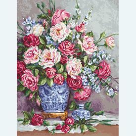 Her Majesty's Roses - kruissteekpakket met telpatroon Luca-S |  | Artikelnummer: luca-b605