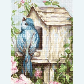 Bird House and Roses - borduurpakket met telpatroon Luca-S  |  | Artikelnummer: luca-b2352
