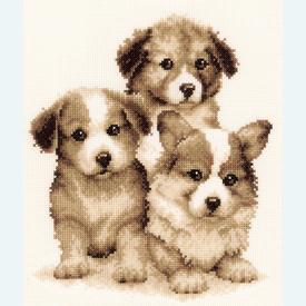 Puppy Friends - kruissteekpakket met telpatroon Vervaco |  | Artikelnummer: vvc-147003
