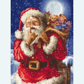Santa's Secret - borduurpakket met telpatroon Letistitch      Artikelnummer: leti-8000