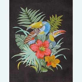 Bouquet Bird - bundel van geschilderd stramien + borduurwol, te borduren in halve kruissteek |  | Artikelnummer: rp-142-198-bundel