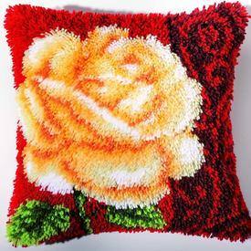 White Rose - smyrna kussen Vervaco | Knoopkussen met roos | Artikelnummer: vvc-2560-3615