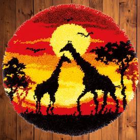 Giraffes in the Sunset - knooptapijt Vervaco | Smyrna tapijt met giraffen in de zonsondergang | Artikelnummer: vvc-179172