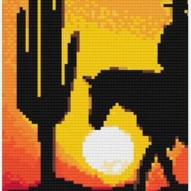 Cowboy in the Sunset 2 - borduurpakket met telpatroon Nafra |  | Artikelnummer: nf-nafra21013