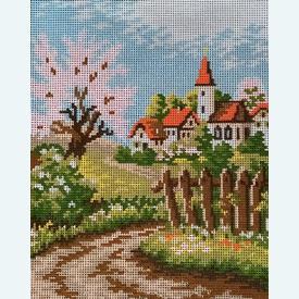 Spring Landscape - bundel van geschilderd stramien + borduurwol, te borduren in halve kruissteek |  | Artikelnummer: vvc-1921