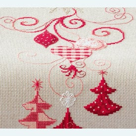 Red Christmas Decorations lange tafelloper -  borduurpakket met telpatroon Vervaco |  | Artikelnummer: vvc-144712