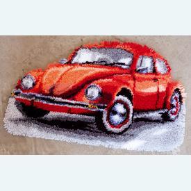 Red Beetle - knooptapijt Vervaco  | Smyrna tapijt met rode auto | Artikelnummer: vvc-147487