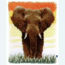 Elephant in the Savanna - knooptapijt Vervaco  | Smyrna tapijt met olifant | Artikelnummer: vvc-150518