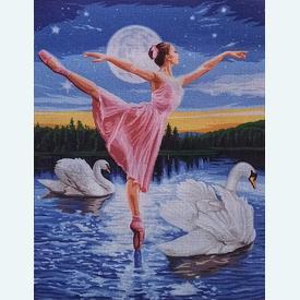 Swan Lake - bundel van geschilderd stramien + borduurwol, te borduren in halve kruissteek |  | Artikelnummer: rp-142-505-bundel