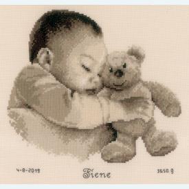 Baby and Bear - borduurpakket met telpatroon Vervaco |  | Artikelnummer: vvc-163566