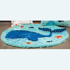 Whales Fun - knooptapijt Vervaco | Smyrna tapijt met walvis | Artikelnummer: vvc-191853