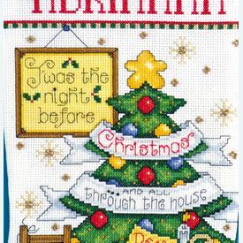 Sleepy Mouse Stocking - borduurpakket met telpatroon Design Works  | Kerstkous om zelf te maken | Artikelnummer: dw- 5950
