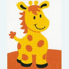 Giraffe - halve kruissteekpakket Vervaco | Handwerkpakket voor kinderen, te borduren op geschilderd stramien, in halve kruissteek  | Artikelnummer: vvc-9591
