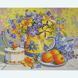 Apricot Preserve - bundel van geschilderd stramien + borduurwol, te borduren in halve kruissteek |  | Artikelnummer: rp-132-212-bundel