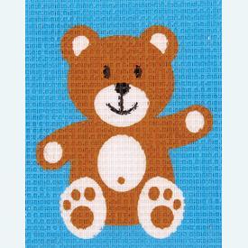 Teddy Bear - halve kruissteekpakket Vervaco | Handwerkpakket voor kinderen, te borduren op geschilderd stramien, in halve kruissteek  | Artikelnummer: vvc-9579