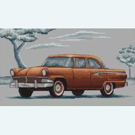 Retro Car Yellow Cadillac - borduurpakket met telpatroon Luca-S |  | Artikelnummer: luca-b2234