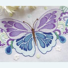 Butterfly - lange tafelloper - voorgedrukt borduurpakket voor platsteek - Vervaco |  | Artikelnummer: vvc-144407