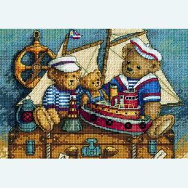 Ahoy Bears - borduurpakket met telpatroon Dimensions  |  | Artikelnummer: dim-06994