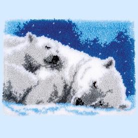 Ice Bears - knooptapijt Vervaco | Smyrna tapijt met slapende ijsberen | Artikelnummer: vvc-170803
