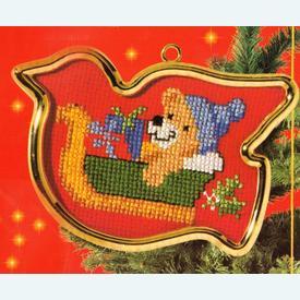 Teddy Bear in Sleigh - borduurpakket met telpatroon Vervaco |  | Artikelnummer: vvc-40909