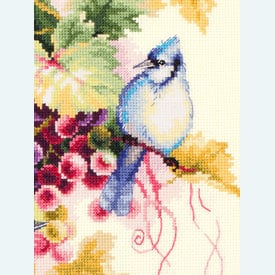 Blue Jay and Grapes - borduurpakket met telpatroon - Magic Needle |  | Artikelnummer: mag-130-022