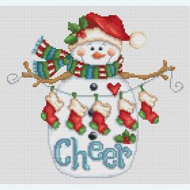 Cheer Snowman - Borduurpakket met telpatroon Orcraphics |  | Artikelnummer: orc-2018-02-49