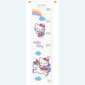 Growing Chart: Hello Kitty and Rainbow - borduurpakket met telpatroon Vervaco | Groeimeter met Hello Kitty | Artikelnummer: vvc-158349