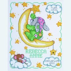 Crescent Moon Birth Announcement - borduurpakket met telpatroon Janlynn      Artikelnummer: jl-063.0102