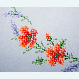 Flowers and Lavendar theenap - voorgedrukt borduurpakket - Vervaco |  | Artikelnummer: vvc-158551