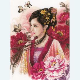 Asian Lady in Pink - borduurpakket met telpatroon Lanarte |  | Artikelnummer: ln-170199