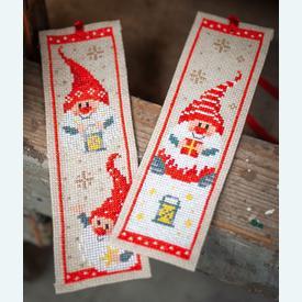 Set van 2 bladwijzers - Christmas Gnomes - Handwerkpakketten met telpatroon Vervaco |  | Artikelnummer: vvc-185073