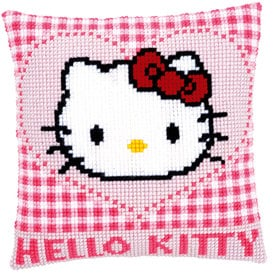 Hello Kitty in a Heart - Vervaco Kruissteekkussen |  | Artikelnummer: vvc-148211